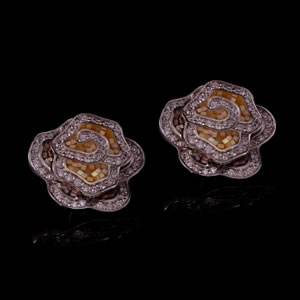 Designer Silver Jewelry, Exclusive Floral Stud Earrings
