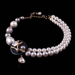 Designer Fashion  Kyoto Swarovski Pearl Necklace By French Jewellery Designer Philippe Ferrandis