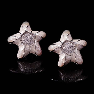 Exclusive Silver Jewellery, Designer White Mosaic Design Stud Earrings