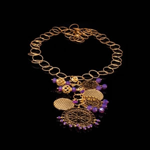Designer gypsy style necklace in gold plated sterling silver and purple zirconia