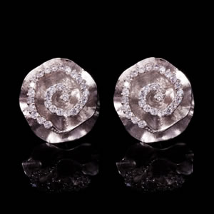 Classic Designer Silver Rose Stud Earrings Jewellery