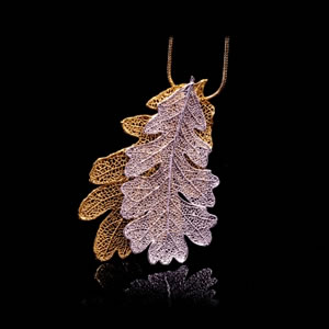 Designer Natural Fashion Jewellery, Classique Handcrafted Silver Gold Oak Leaves Necklace
