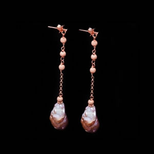 Designer Gemstone Jewelry, Exclusive Pink Gold Pearl Drop Earrings by Luisa Della Salda