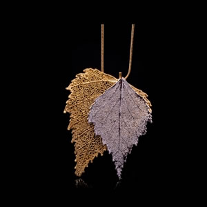 Designer Natural Fashion Jewellery, Classique Handcrafted Silver Gold Birch Leaves Necklace