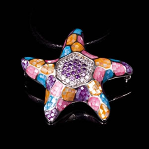 Exclusive Silver Jewellery, Colourful Mosaic Design Brooch Pendant