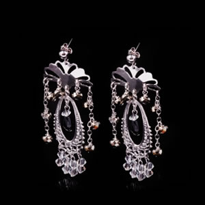Stylish Italian Silver Jewellery Earrings With Black Swarovski Crystals