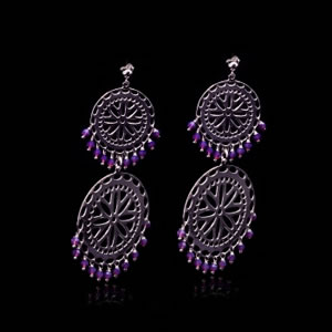 Designer gypsy style earrings in sterling silver and purple zirconia