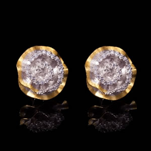 Classic Designer Gold Rose Stud Earrings Jewellery