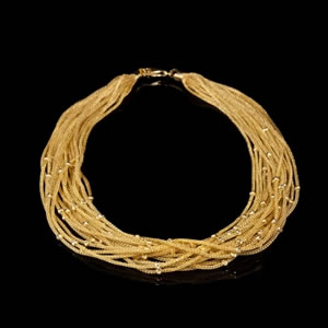Designer necklace crafted in Italy from gold plated sterling silver