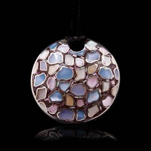 Designer Silver Jewellery, Unique Viola Mosaic Design Brooch Pendant