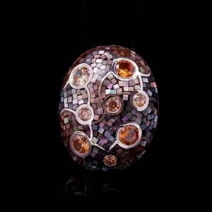Designer Silver Jewellery, Unique Brown Mosaic Design Brooch Pendant