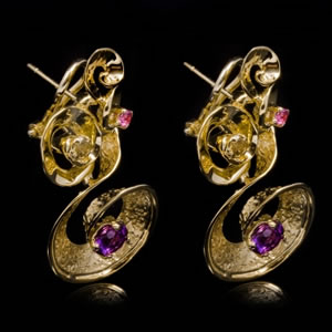 Luxury Designer Gold Gemstones Earrings Jewellery