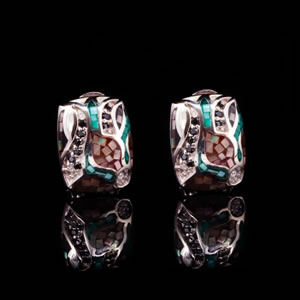 Exclusive Silver Jewellery, Unique Mosaic Design Floral Stud Earrings