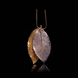Designer Natural Fashion Jewellery, Classique Handcrafted Silver Gold Rose Leaves Necklace