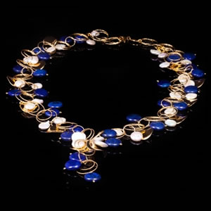Designer Gemstone Jewellery, Exclusive Gold Lapis Necklace Jewel by Luisa Della Salda