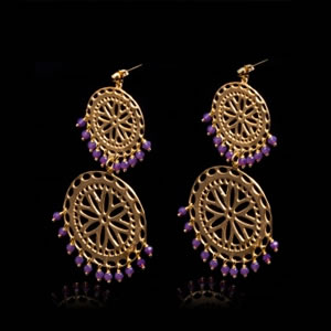 Designer gypsy style earrings in gold plated sterling silver and purple zirconia