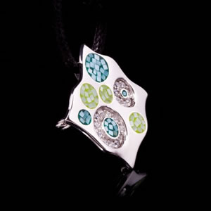 Designer Silver Jewellery, Exclusive Green Mosaic Design Brooch Pendant