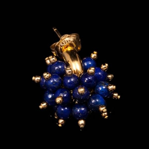 Designer Gemstone Jewellery, Exclusive Gold Lapis Stud Earrings by Luisa Della Salda