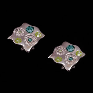 Designer Silver Jewellery, Exclusive Green Mosaic Design Stud Earrings