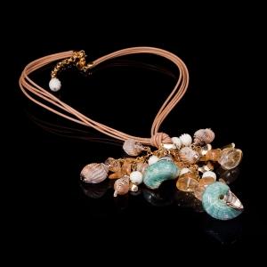 Designer Fashion Silver Jewelry, Unique Shell Jewel Necklace