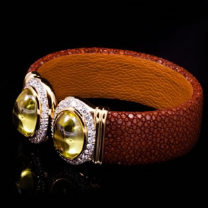 Byzantine Style Designer Jewellery Cuff With Stingray Leather And Prehnite Stones