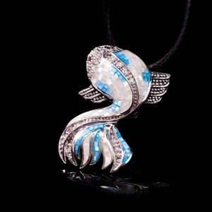 Unique Silver Jewellery, Designer Fish Pendant Brooch, Mosaic Designer Jewelry