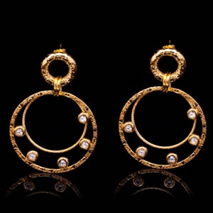 Stylish Italian Gold Vermeil Jewellery Earrings With Swarovski Crystals