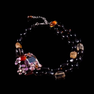 Designer Fashion Swarovski Amber Necklace By French Jewellery Designer Philippe Ferrandis