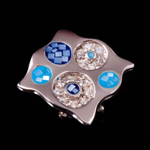 Designer Silver Jewellery, Exclusive Blue Mosaic Design Brooch Pendant