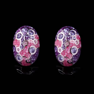 Exclusive Designer Jewellery, Unique Mosaic Design Stud Earrings