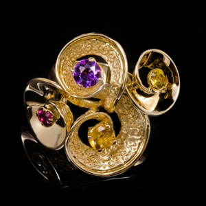 Luxury Designer Gold Gemstones Ring Jewellery