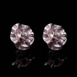 Unique Designer Silver Carnation Stud Earrings