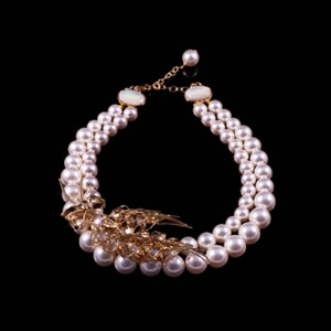 Exclusive Fashion Marianne Swarovski Pearl Necklace By French Jewellery Designer Philippe Ferrandis