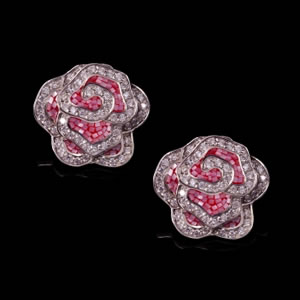 Designer Silver Jewellery, Exclusive Mosaic Design Floral Stud Earrings
