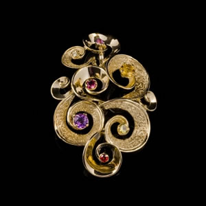 Luxury Designer Gold Gemstones Pendant