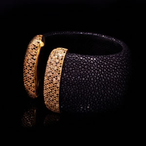 Byzantine Style Designer Jewellery Cuff With Black Stingray Leather And Brown stones