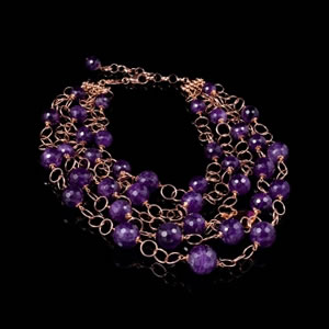 Designer Gemstone Jewelry, Exclusive Amethyst Stones Multistrand Necklace by Luisa Della Salda