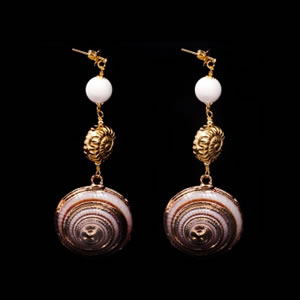 Designer Brown Shell Drop Earrings Jewellery By Italian Designer Luisa Della Salda
