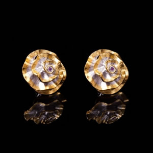 Unique Designer Gold Carnation Stud Earrings