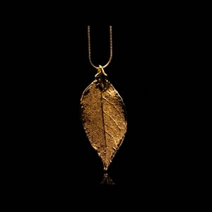 Designer Natural Fashion Jewellery, Classique Handcrafted Gold Rose Leaf Necklace