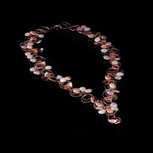 Designer Gemstone Jewelry, Exclusive Pink Gold Pearl Necklace by Luisa Della Salda