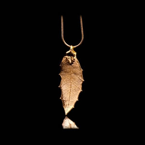Designer Natural Fashion Jewellery, Classique Handcrafted Gold Holly Leaf Necklace