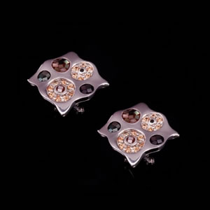 Unique Silver Jewellery Gifts, Exclusive Brown Mosaic Design Stud Earrings