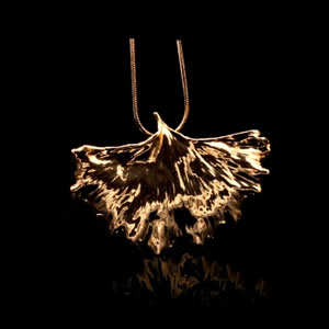 Designer Natural Fashion Jewellery, Classique Handcrafted Gold Biloba Leaf Necklace