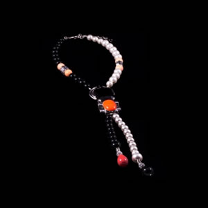 Designer Fashion Madison Beaded Swarovski Tie Necklace By French Jewellery Designer Philippe Ferrandis