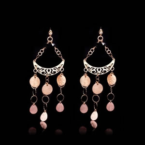 Italian designer earrings in rose gold plated silver and black zirconia studs