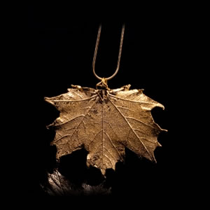 Designer Natural Fashion Jewellery, Classique Handcrafted Gold Maple Leaf Necklace