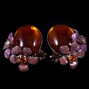 Designer Fashion Swarovski Amber Earrings By French Jewellery Designer Philippe Ferrandis