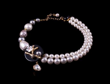 Designer Fashion  Kyoto Swarovski Pearl Necklace By French Jewellery Designer Philippe Ferrandis