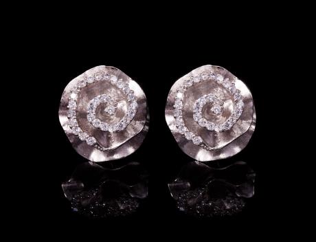 Classic Designer Silver Rose Stud Earrings Jewellery
